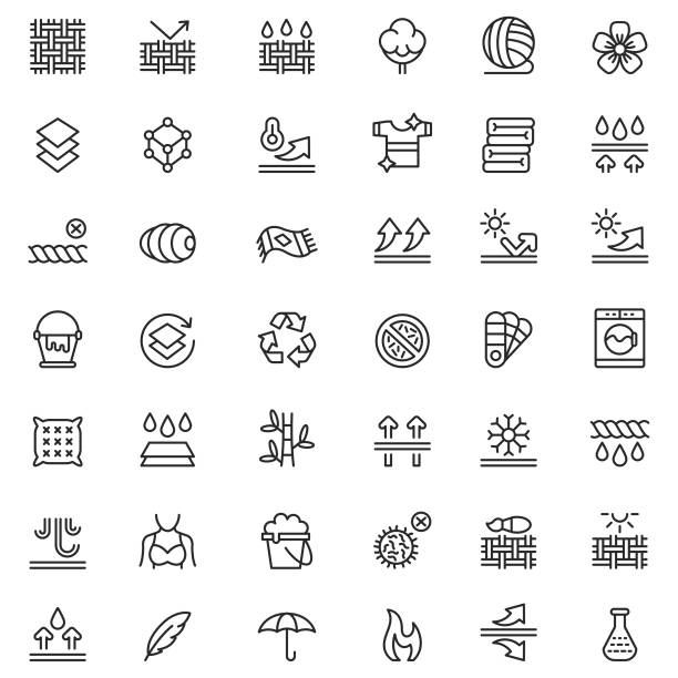 Fabric technology icon set Fabric technology icon set textile stock illustrations