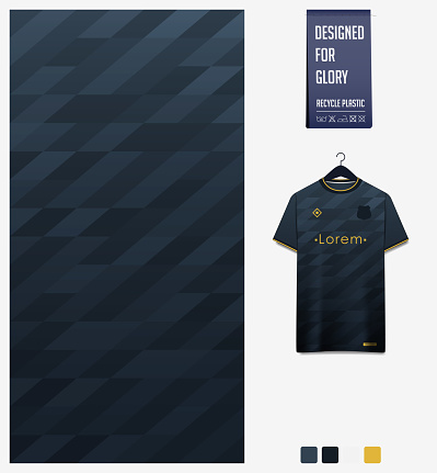 Fabric textile design in Black gradient geometry shape pattern for soccer jersey, football kit, baseball uniform or sports shirt. T-shirt mockup template. Abstract background. Vector.