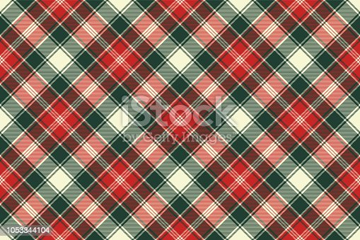 Fabric texture check plaid seamless pattern. Vector illustration.