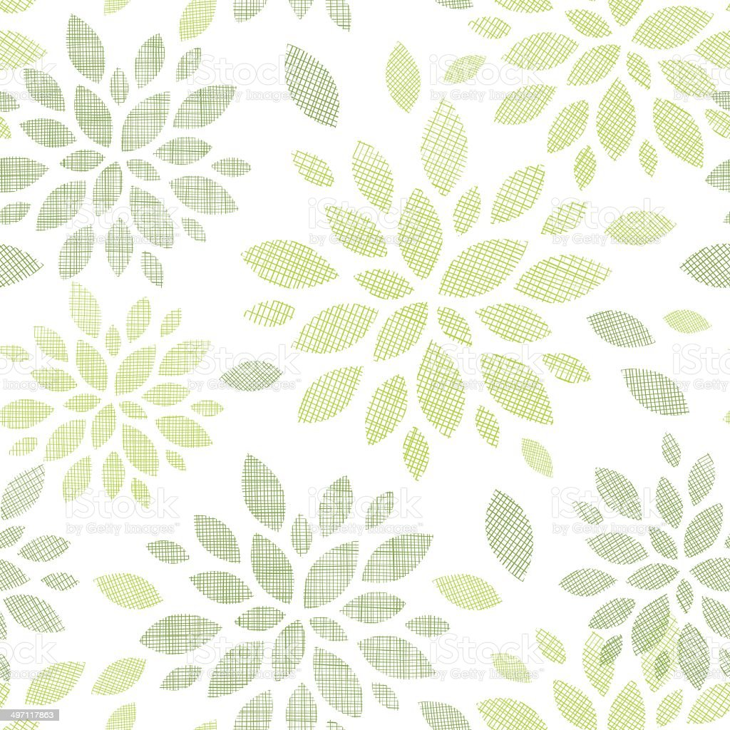 Fabric textured abstract leaves seamless pattern background royalty-free stock vector art