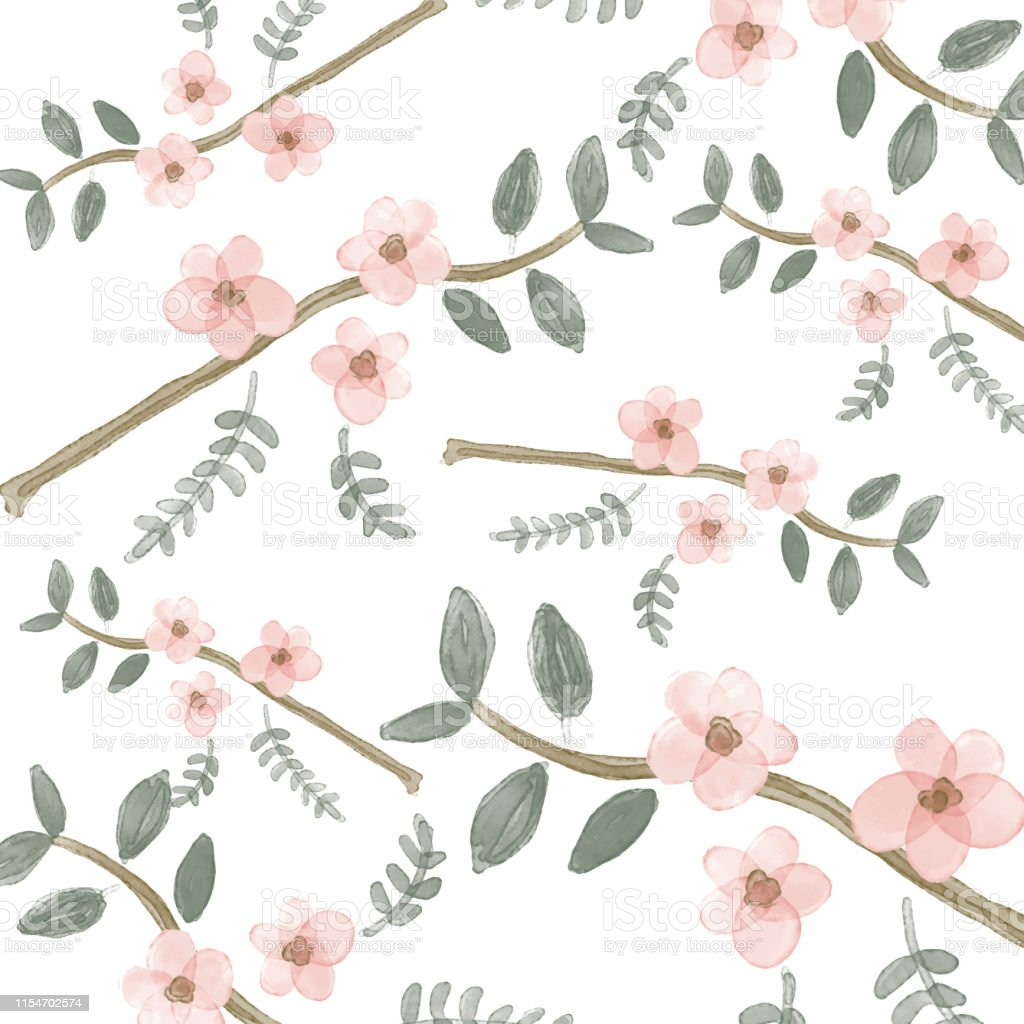Fabric Wallpaper Print Texture Watercolor Floral Wallpaper