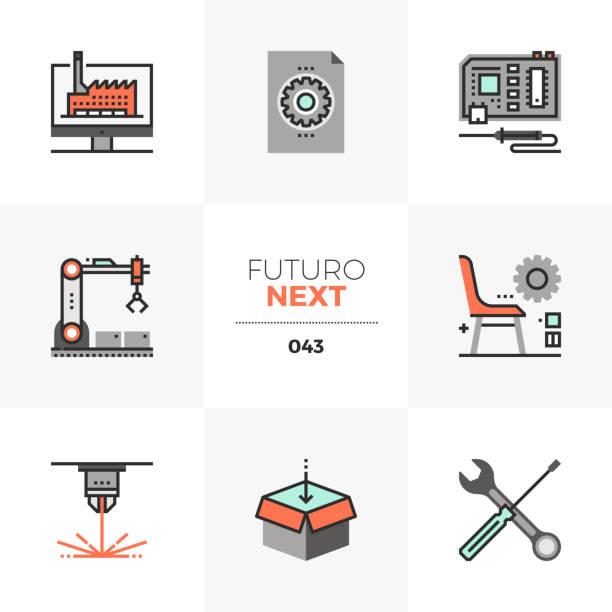 fabrication lab futuro next icons - machine stock illustrations, clip art, cartoons, & icons
