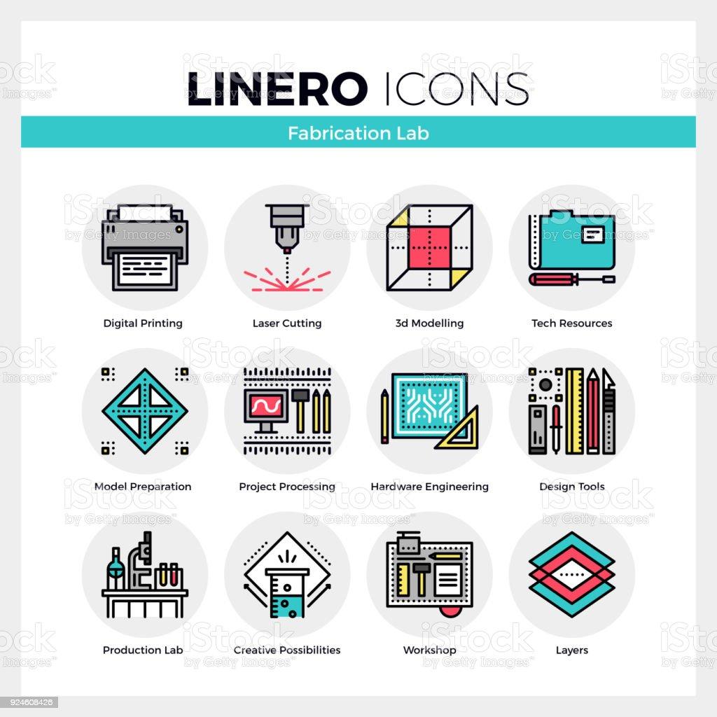 Fabrication laboratoire Linero Icons Set - Illustration vectorielle