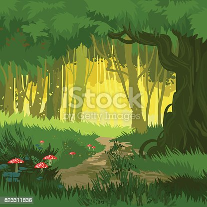 Fabulous bright green summer forest vector background jungle with toadstool and mushrooms and forest path cartoon style