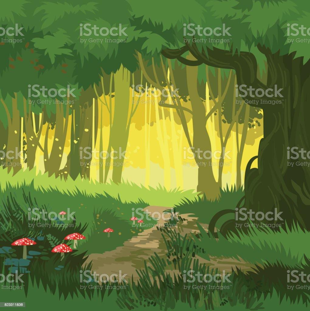 Fondo de vector fabuloso verano verde brillante mágico bosque de setas - ilustración de arte vectorial