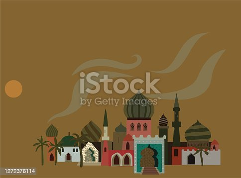 Little fabulous town in the desert during samum, described in Arabian tales. Vector illustration