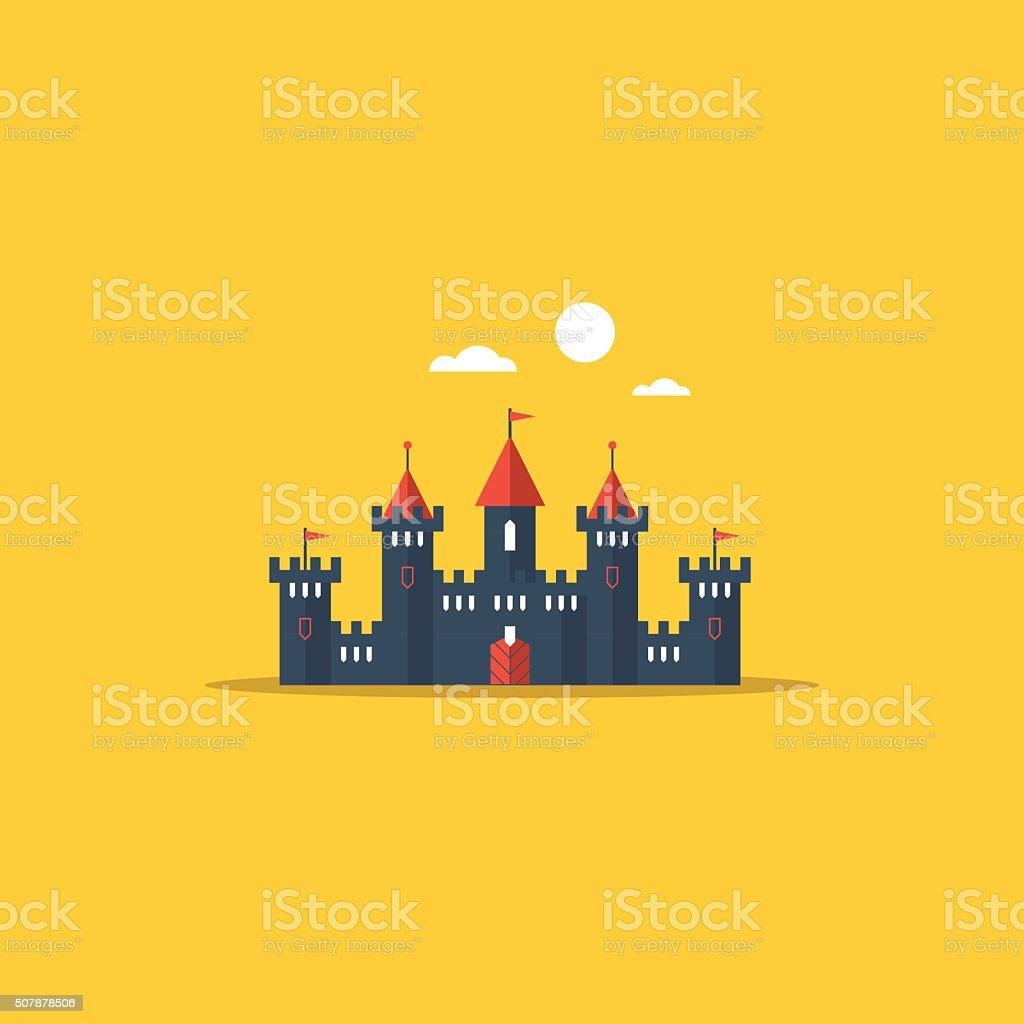 Fabulous fairy castle vector art illustration
