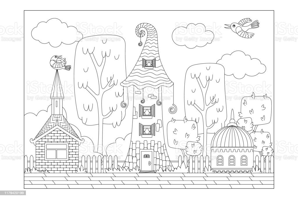 Fabulous Town Of Different Houses Sheet For Childrens Coloring Books Vector  Stock Illustration - Download Image Now - IStock
