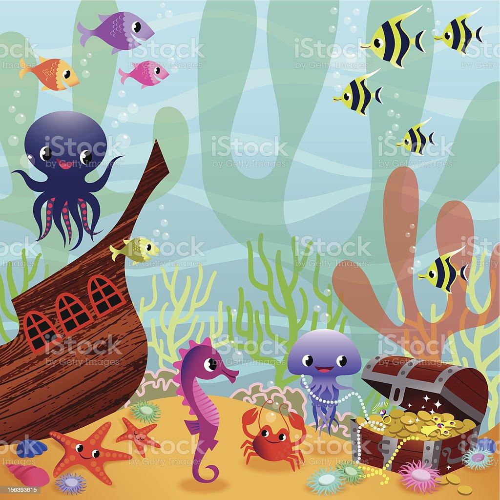 Fabulous Underwater Life. royalty-free stock vector art
