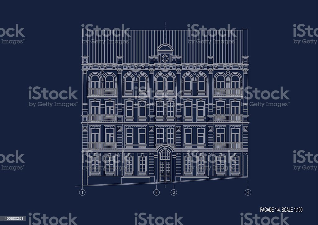 Facade in renaissance on the blue paper vector art illustration