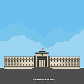 Facade of a bank building. The Old Federal Reserve Bank of San Francisco Building, now known as the Bently Reserve. San Francisco downtown, San Francisco, California. Flat style vector illustration