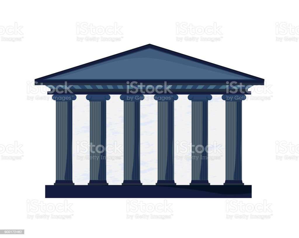 facade of a court building with columns in Greek style. Sign of Justice and Education. vector art illustration