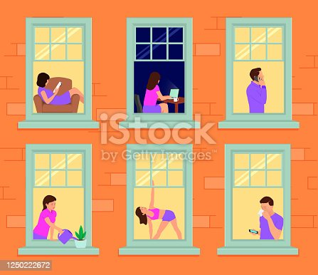 istock Facade of a house with windows and people in them. Man and woman in the windows 1250222672