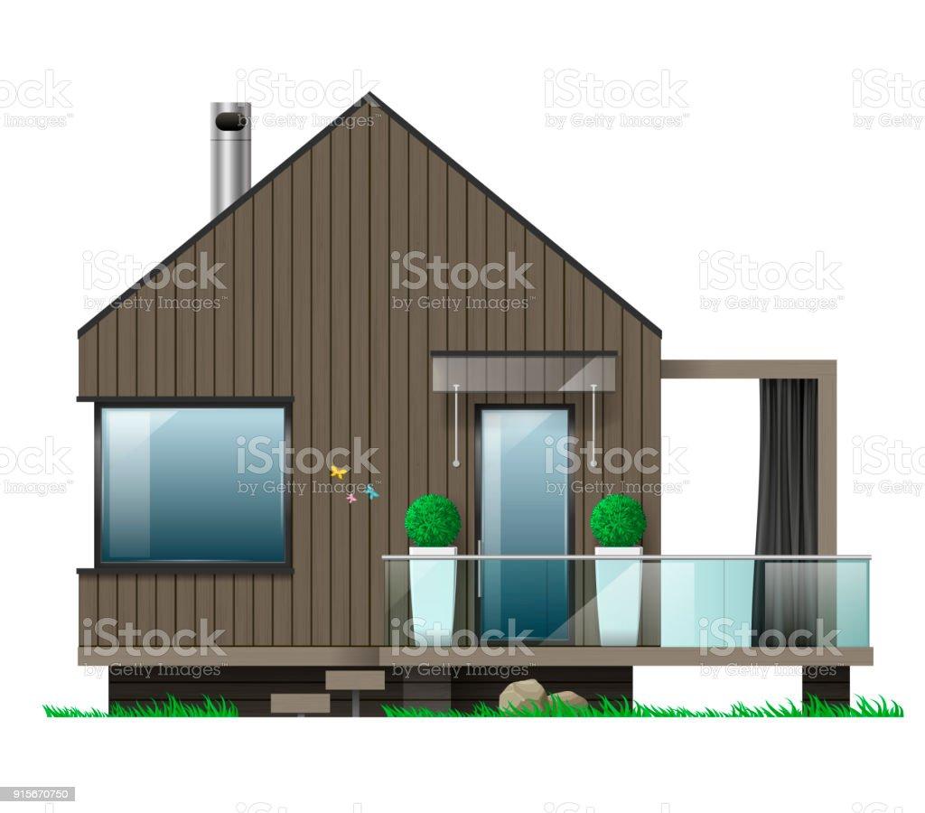 Ilustración De Fachada De Una Casa Moderna Con Terraza Y Más