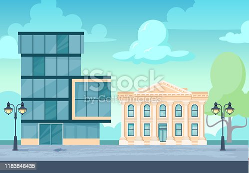 Administration buildings. Cityscape with facade of financial institutions, museum, office, university, court or other. Vector illustration in flat style.