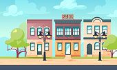 Bank exterior. Cityscape with facade of financial or other administration or residential buildings. Vector illustration in flat style.