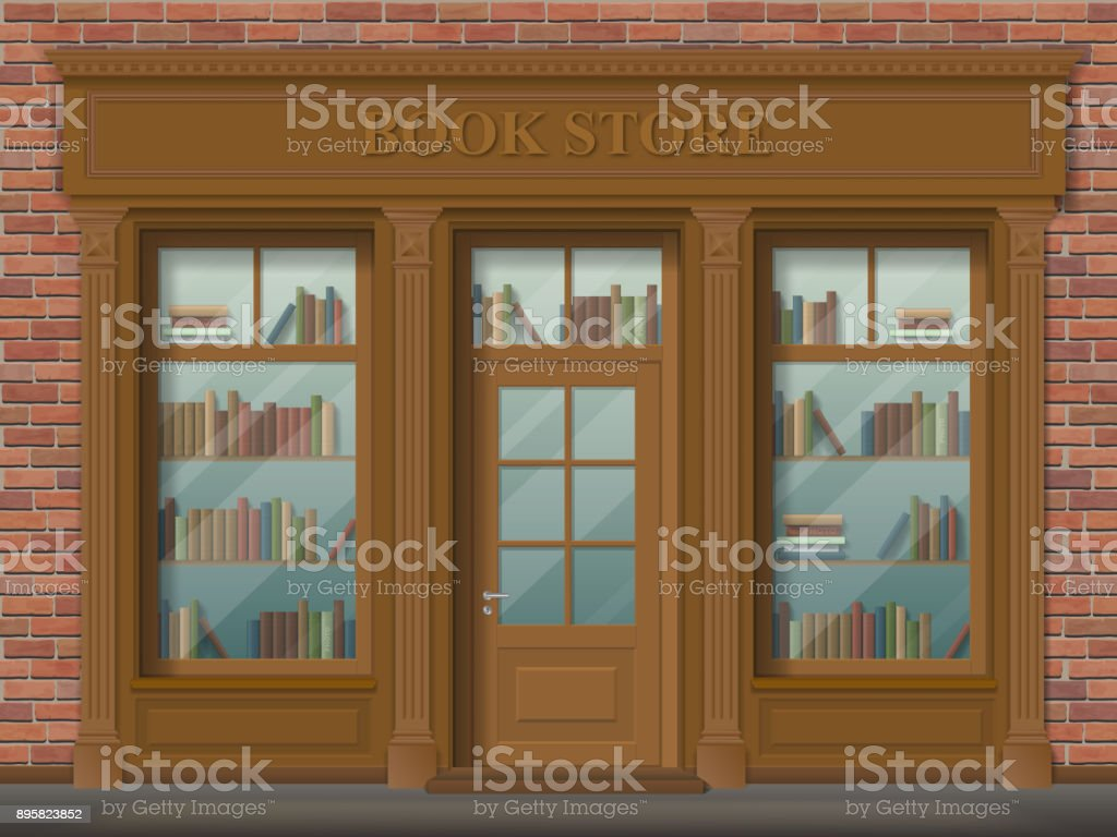 Facade of bookstore, front view. vector art illustration