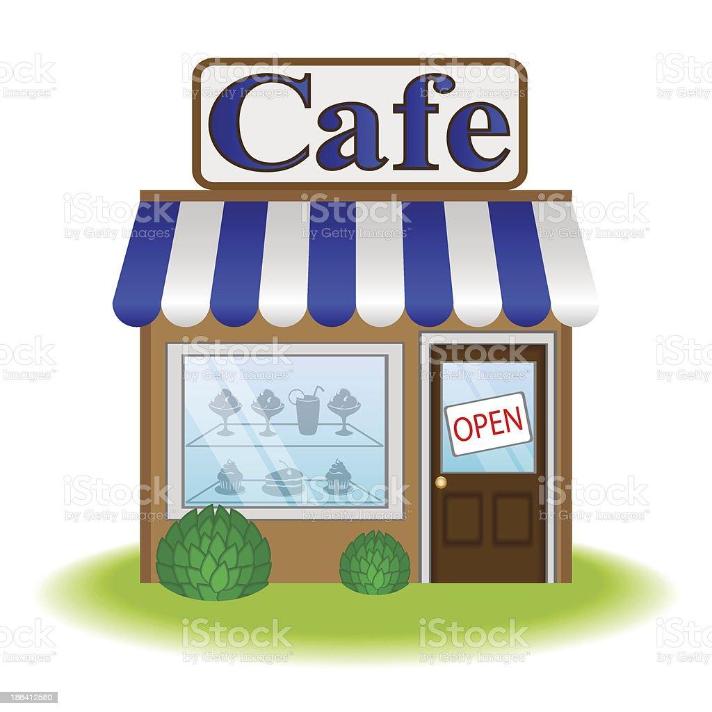 Facade of cafe, vector icon royalty-free stock vector art