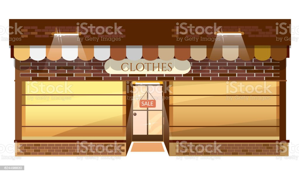Facade of clothing shop building fashion boutique store vector art illustration