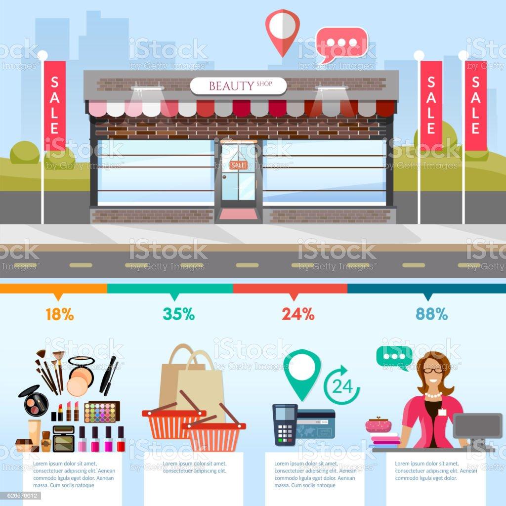 Facade of fashion store, shopping infographics. vector art illustration