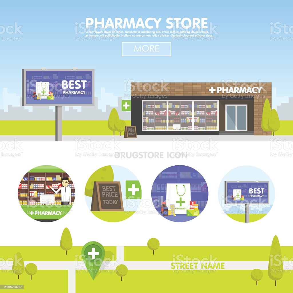 Facade of pharmacy in the urban space vector art illustration