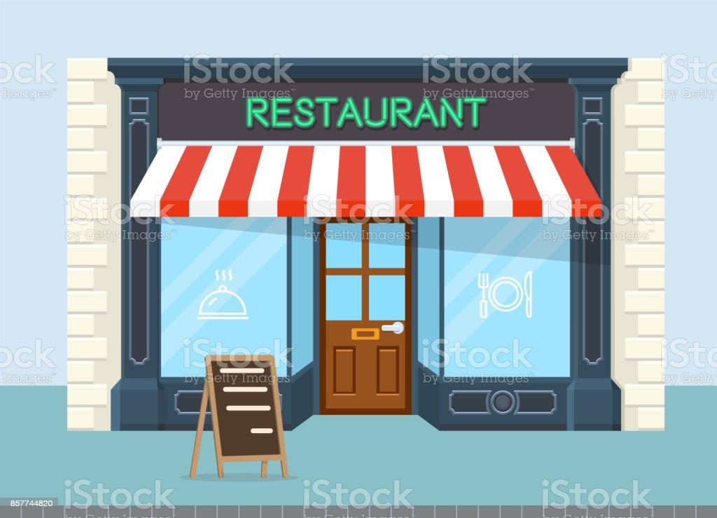 Facade of restaurant vector flat design vector art illustration