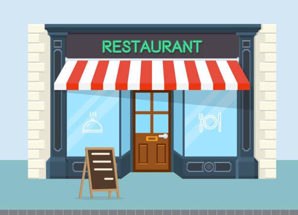 Facade of restaurant vector flat design Facade of restaurant vector flat design, eps 10 facade stock illustrations