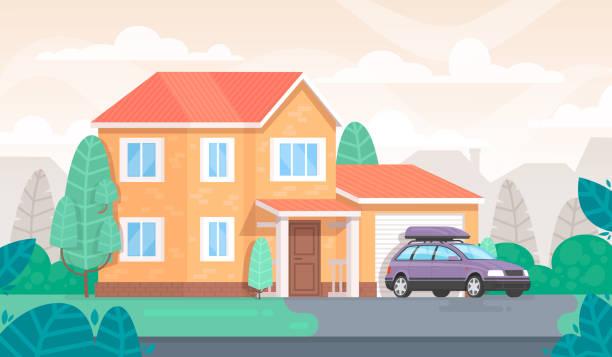 ilustrações de stock, clip art, desenhos animados e ícones de facade of the house is with a garage and a car. cottage - house garage