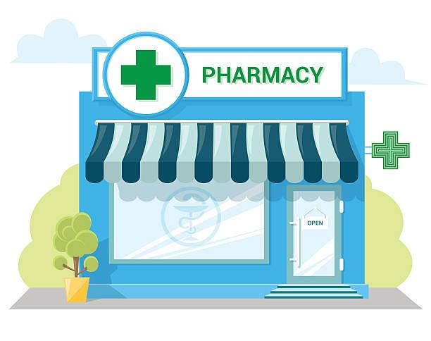 illustrazioni stock, clip art, cartoni animati e icone di tendenza di negozio di farmacia di facciata con cartello, tenda da sole, simbolo sulla vetrina. - farmacia