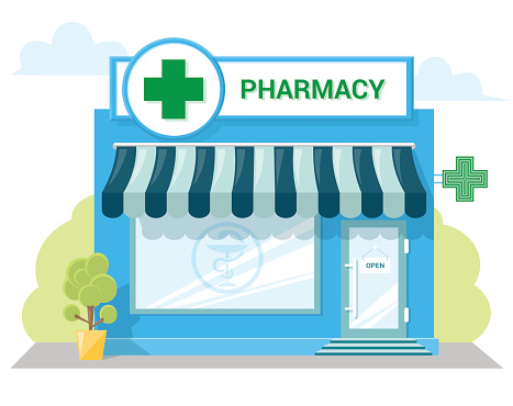 Facade Pharmacy Store With A Signboard Awning Symbol On Shopwindow - Immagini vettoriali stock e altre immagini di Affari