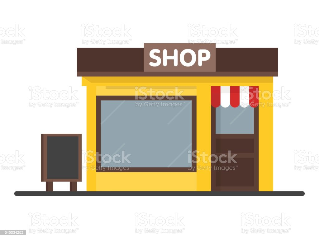 Facade Shop Store icon with signboard. vector art illustration