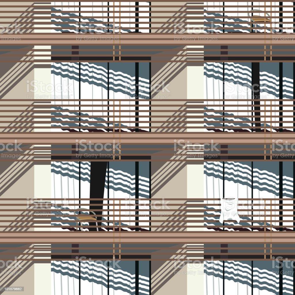 facade (seamless pattern) vector art illustration