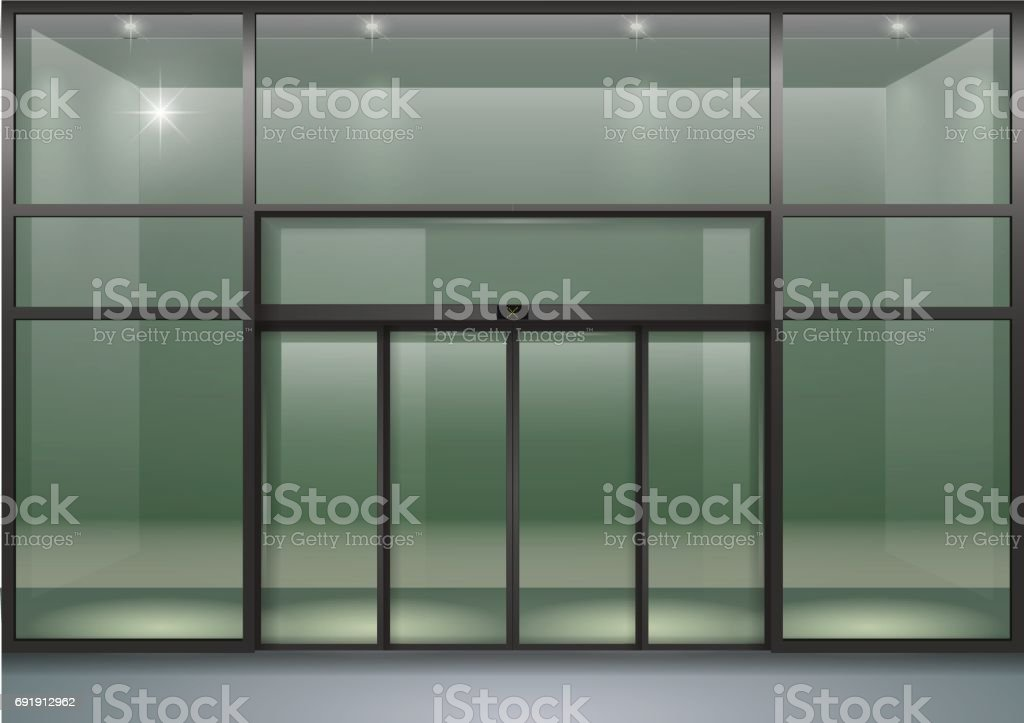 Airport Door Entrance Glass - Material Public Building & Facade With Sliding Doors Stock Vector Art u0026 More Images of Airport ...
