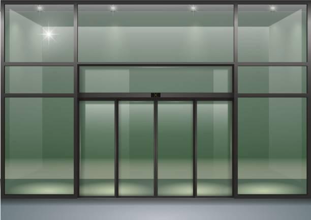 Automatic Sliding Open Doors Office Stock Illustration - Illustration of  exterior, chrome: 153032551