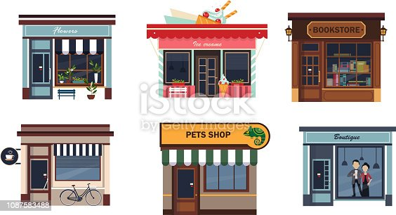 Facades of various shops set, flower, ice cream, bookstore, cafe, pets shop, boutique vector Illustration isolated on a white background.
