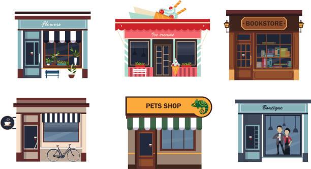 다양 한 상점 세트, 꽃, 아이스크림, 서 점, 카페, 애완 동물이 게, 부티크의 facades 흰색 배경에 그림을 벡터 - 서점 stock illustrations