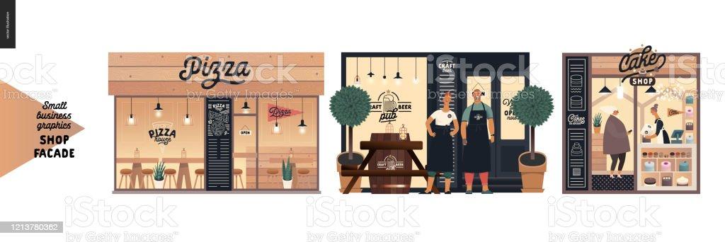 Cepheler - küçük işletme grafikleri - Royalty-free Adamlar Vector Art