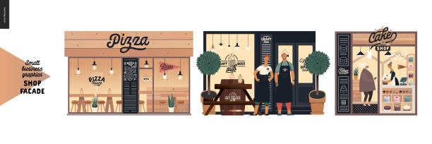 ilustraciones, imágenes clip art, dibujos animados e iconos de stock de fachadas - gráficos para pequeñas empresas - small business