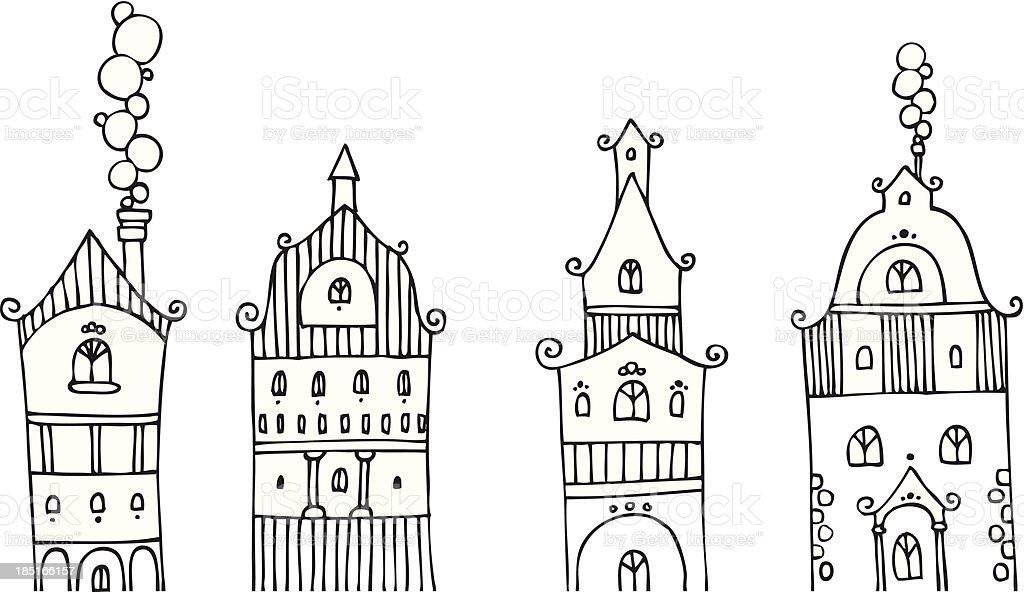facades vector art illustration