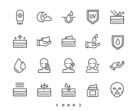 Face and body skin care line icon set