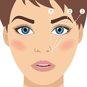 Face and eyebrow mapping. How to shape your eyebrows at home. Trimming. Woman tips. Perfect brow shape for your face. Trendy makeup scheme. Vector illustration.