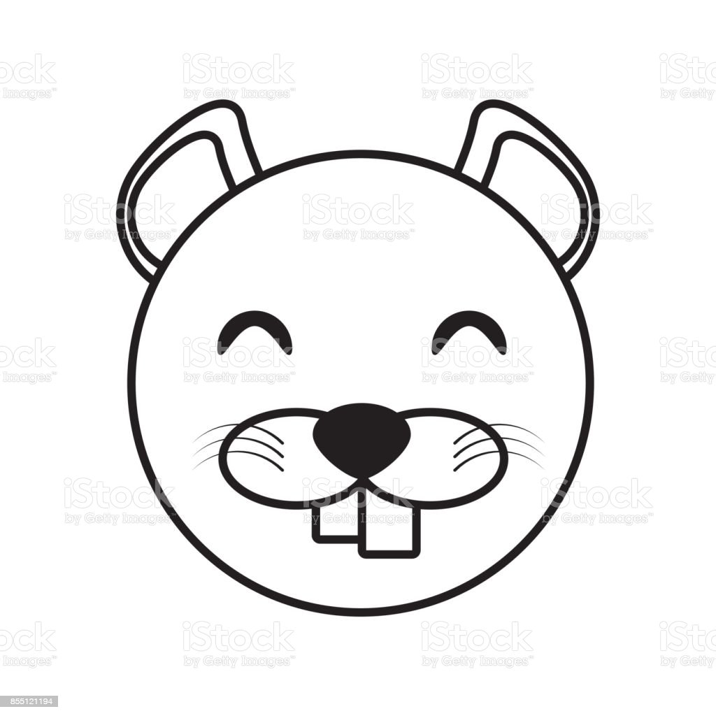 Face Beaver Animal Outline Stock Vector Art & More Images of ...