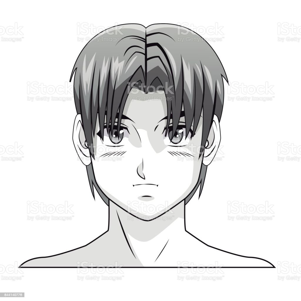 Face Boy Anime Manga Comic Hair Style Stock Illustration Download