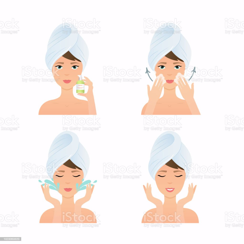 Face care routine. Girl Cleaning And Care Her Face. Steps how to apply cleansing gel.  Skincare vector. vector art illustration
