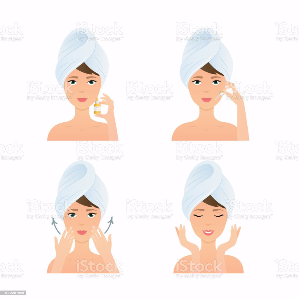 Face care routine. Girl Cleaning And Care Her Face. Steps how to apply facial serum.  Skincare vector. vector art illustration