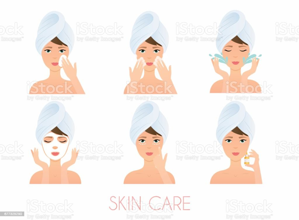 Face care routine. Girl Cleaning And Care Her Face With Various Actions Set.  Skincare vector. vector art illustration