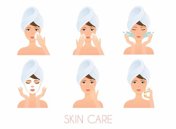 顔の手入れ。女の子のクリーニングとケアさまざまなアクションで彼女の顔を設定します。 スキンケアのベクトル。 - 体 洗う点のイラスト素材/クリップアート素材/マンガ素材/アイコン素材