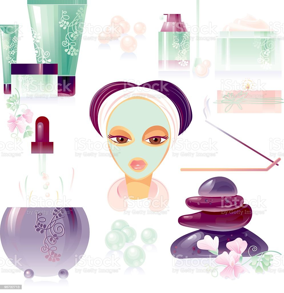 Face care SPA set. royalty-free face care spa set stock vector art & more images of adult