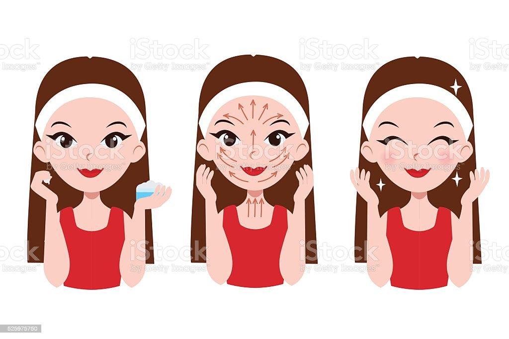 Face care vector art illustration