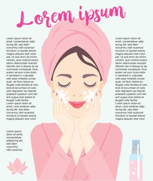 Gesichtspflege Frau – Vektorgrafik